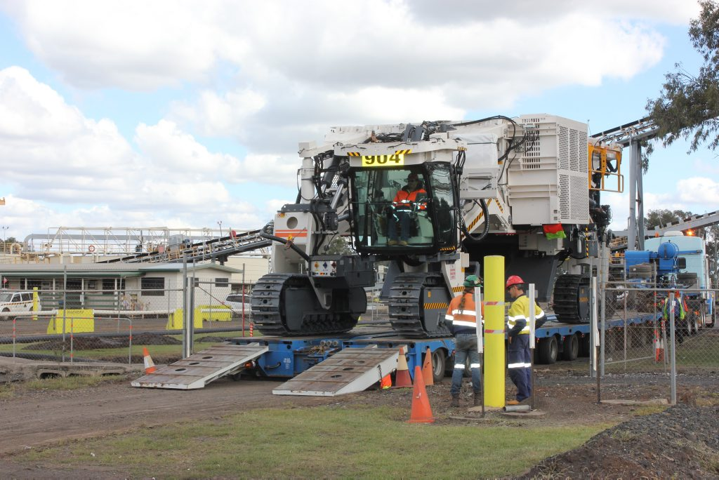 New Acland coal mine takes delivery German-built Wirtgen machine, which will be used to mine thin coal seams. :Photo Contributed