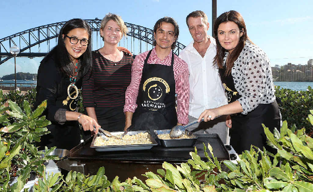 Celebrity chefs Kylie Kwong, Giovanni Pilu and Karen Martini with Cameron and Tracy Wallace celebrating the anniversary of macadamias at the Sydney Opera House.