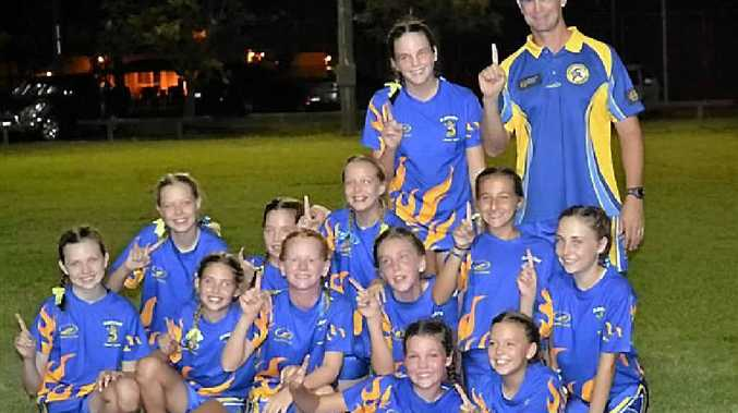 REIGNING CHAMPIONS: The victorious under-12 girls' touch football team at the Central Queensland Championships.