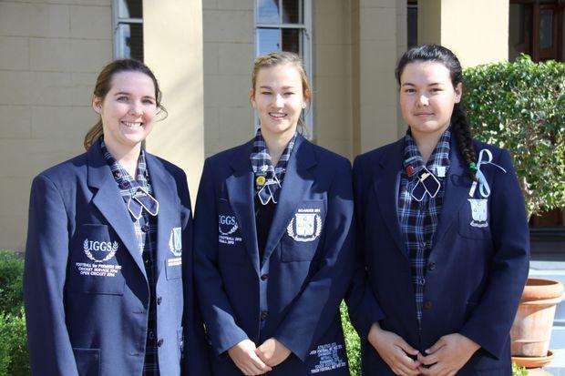 IGGS boarders; Renae Rathbone, Jane Schefe (Head Boarder) and Pepa Jennings.