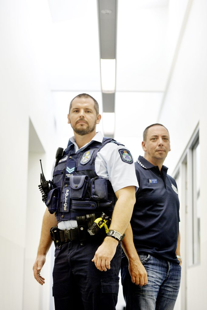 Senior Constables Peter Bridger and Paul Coates have each been awarded the Medal of Valour for their roles in the arrest of two people involved in a car chase and subsequent shooting. Photo: Claudia Baxter / The Queensland Times