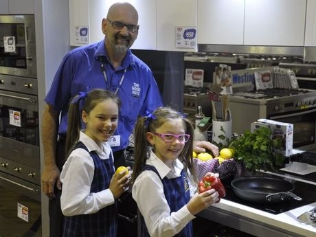 Colin Mackay with Emma Schuh and Olivia Schuh Photo Nick Houghton / The Chronicle