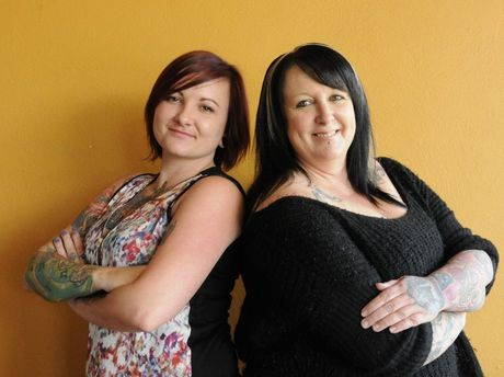 Tattoo Studio - Anita Reid (left) and Leonie Jones proud of their tattoos. Photo Bev Lacey / The Chronicle