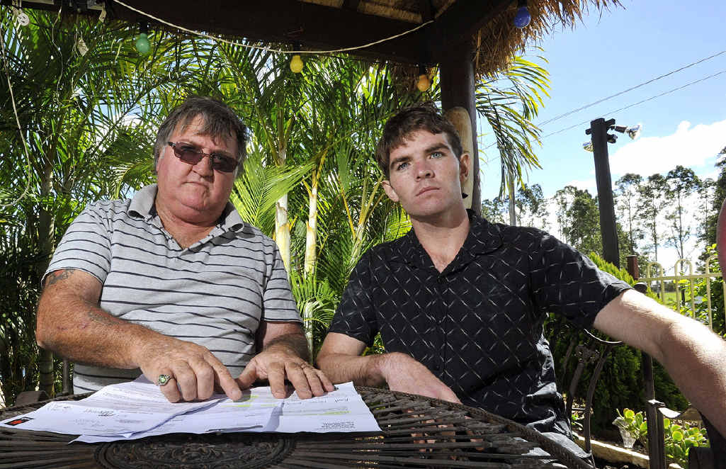 DISGUSTED: John and Jeffery Stevens, of Casino, intend to go to the NSW Ombudsman to complain about NAB after Jeffery's cancelled debit card still had money withdrawn from it.