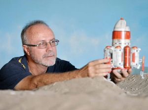 Space-themed models made from recycled goods star in movies