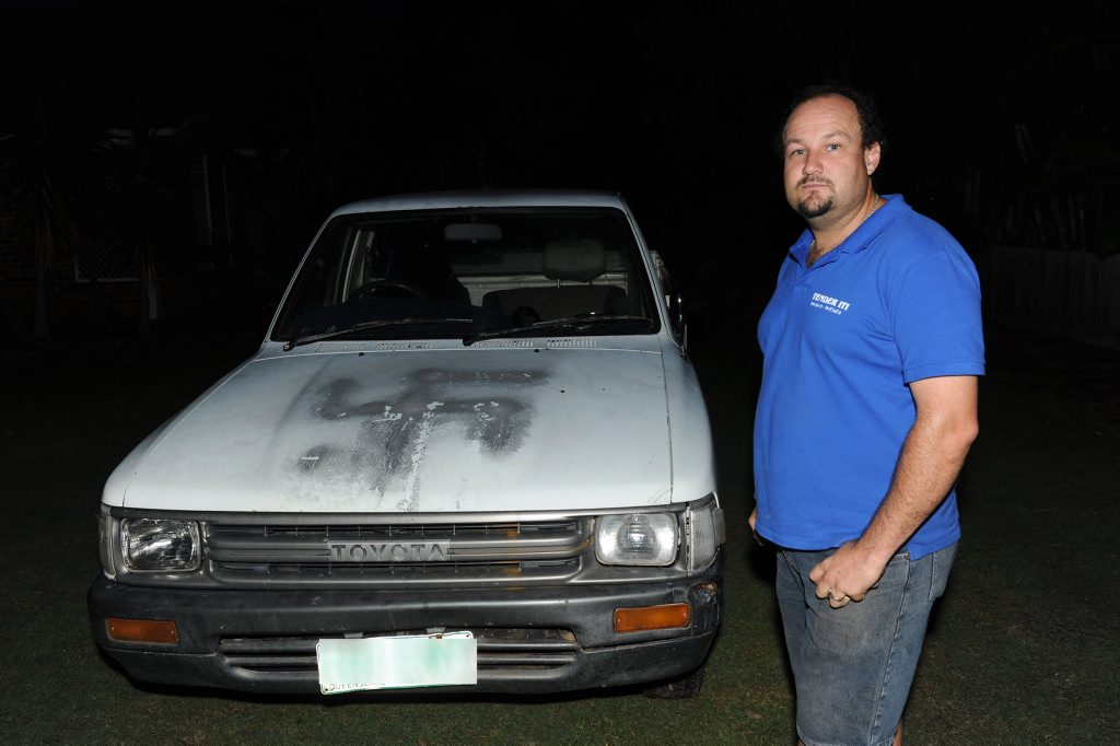 Jamie Mitchell lives in a good neighbourhood and did not expect to return home to see his son's vehicle sprayed with a swastika.