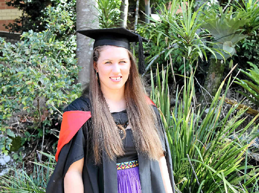 MASTERS DEGREE: Emma Kopcikas was one of 230 students who graduated from Southern Cross Universities' Lismore campus on Saturday.