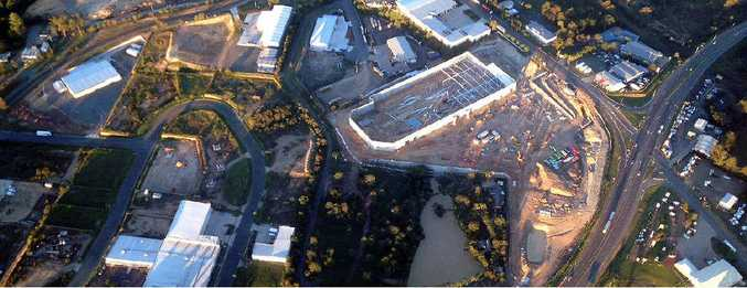 Gympie pilot Chris De Vere took this aerial photo of the $35 million Bunnings Warehouse being built on the corner of the Bruce Hwy and Hall Rd.