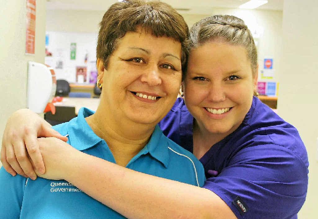 Celebrating International Nurses Day are Gladstone Hospital nurses Hayley Gould and Leighette Sullivan who love what they do.