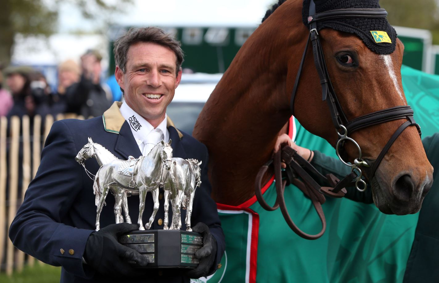 Australia's Sam Griffiths and Paulank Brockagh celebrates after winning the Badminton Horse Trials, at Badminton, England, Sunday, May 11, 2014.