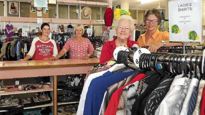 READY TO SERVE: St Vincent De Paul volunteers Kim Hay, Colleen Swann, Judy Thomas and supervisor Robyn Fraser are calling for more helpers at the store located on Goondoon St.