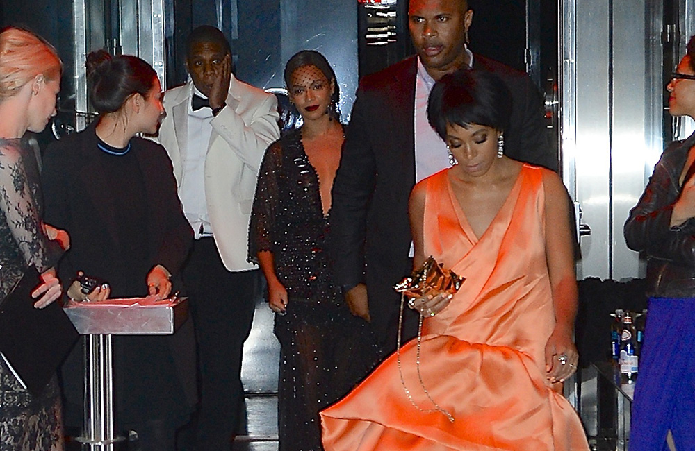 Solange Knowles, Beyoncé and Jay Z leaving Met Gala after-party.