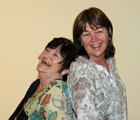 Exhibition artists and best friends, Beryl Wood and Leanne Cole. Image by EH. Gallaher