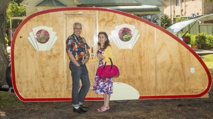 VAN HAILIN': Brian Loadsman and Philomena Jabour with the rockabilly-themed caravan Brian created from scratch. Photos: Adam Hourigan