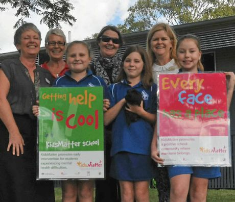 KIDS MATTER: Gladstone West State School action team (from left) principal Margie Burrell, teachers Jenny Matthews, Mel Pengelly and Kartina Dalton and students Shivana Saunders, 10, Amity Hollis, 10, and Taylor Connor, 10.