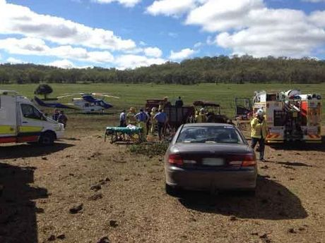 An elderly man has extensive lower limb injuries after a farm accident south of Toowoomba.