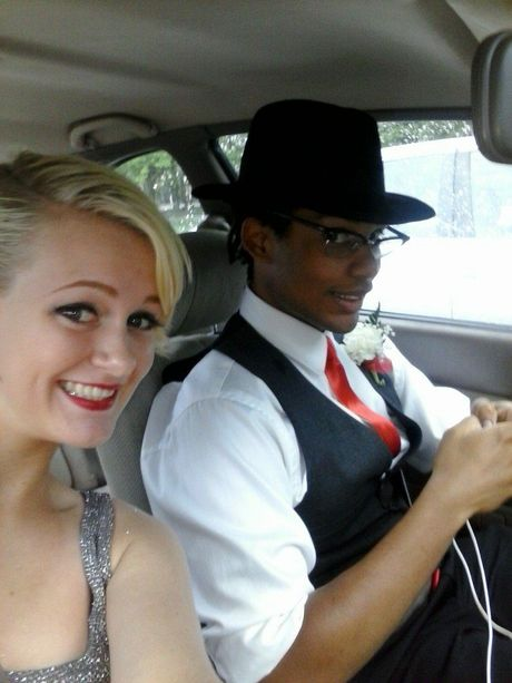 Clare, 17, takes a selfie with her date as they head to the Richmond Homeschool Prom.