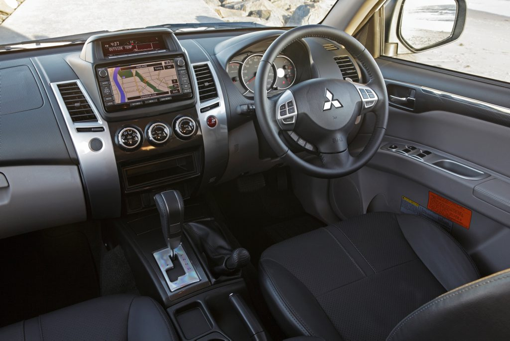 Inside the Mitsubishi Challenger.
