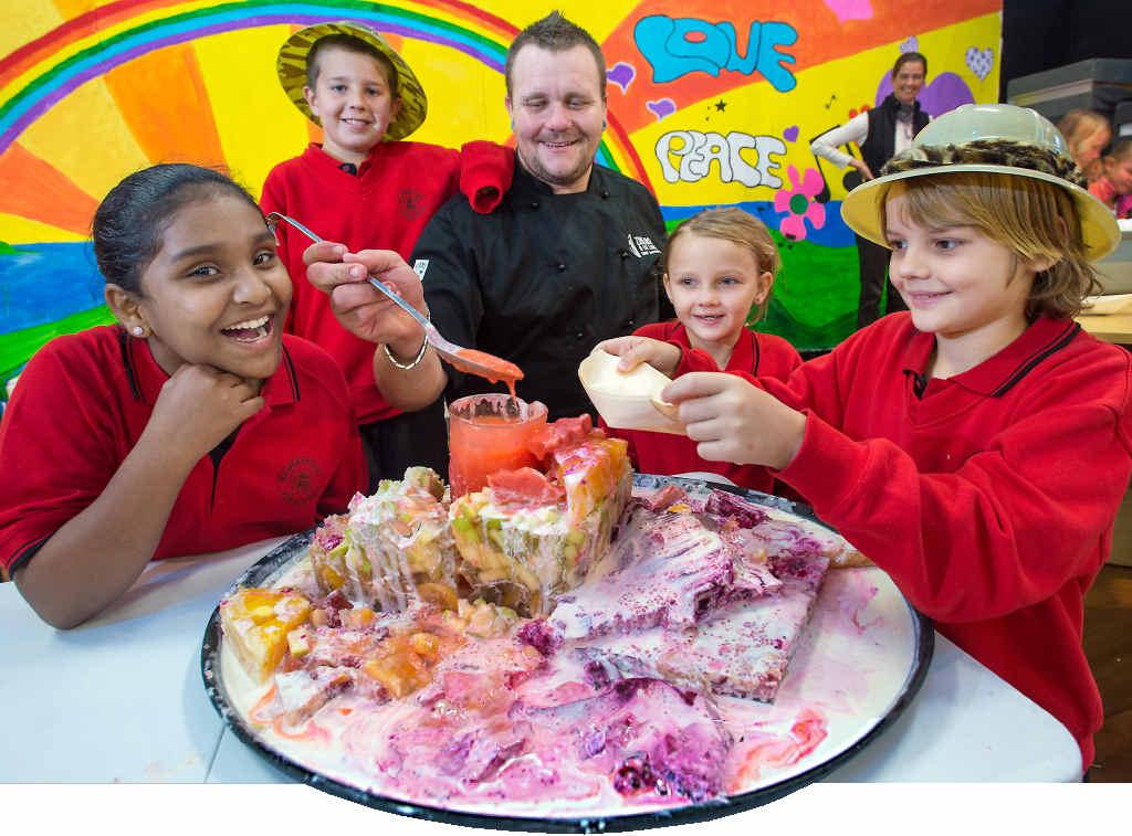 BIG BREKKY: Local chef Joel McCulla treats William Bayldon students Rhea Rishika, Harley McEwan and Sara and Jake Hall to breakfast yesterday.