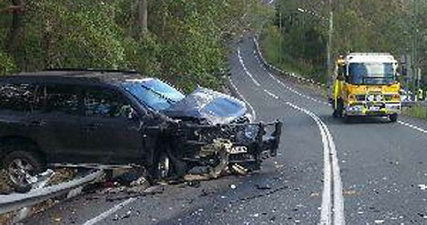 AFTERMATH: The outcome of a two-vehicle crash at an intersection at Mt Crosby that badly injured a woman driver.