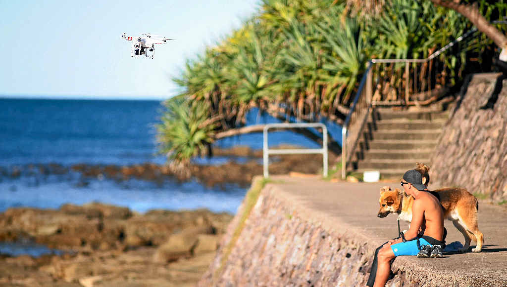 SKY HIGH: This drone was captured flying at Alexandra Headland, breaching safety regulations.
