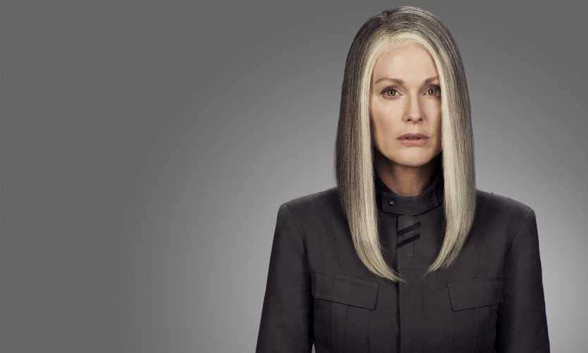 Julianne Moore as President Coin in The Hunger Games: Mockingjay Part 1