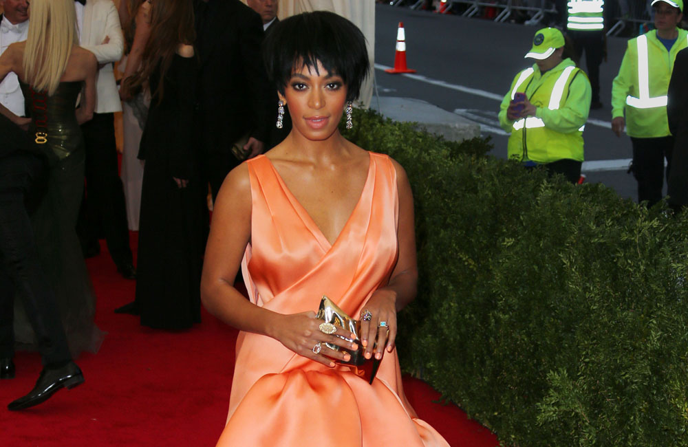Solange Knowles pictured on the night of the Met Gala when the altercation took place