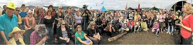 SUPPORTERS of the Bentley anti-CSG protest listen to Greens Senator for Queensland, Larissa Waters, at a rally yesterday.