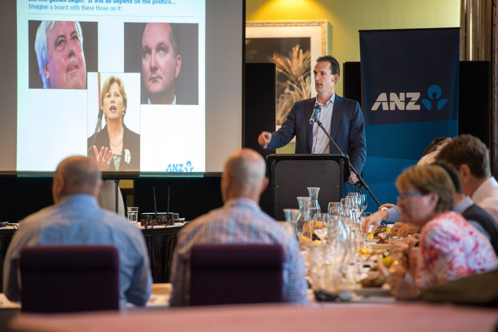 ANZ chief economist Justin Fabo reviews the Federal Budget at a C.ex Coffs luncheon. Photo: Trevor Veale / Coffs Coast Advocate