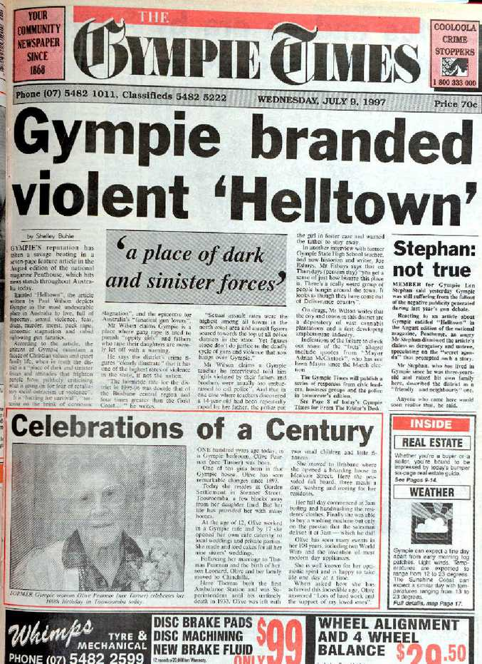 """HEADLINES: Gympie was branded """"Helltown"""" when the August, 1997 Penthouse hit the newsstands."""