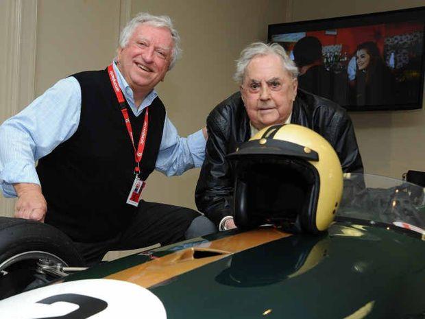 MAN AND MACHINE: Sir Jack Brabham (right), his Brabham BT23 Formula 2 car, and the car's owner, Steve Padgett.