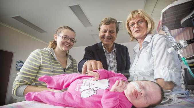 EARLY START: Mother Samantha Durrington, Humpty Dumpty patron Ray Martin and Grafton Base Hospital maternity nursing unit manager Angie Garland with baby Anastasia Windred, who was born prematurely. Photo Adam Hourigan / The Daily Examiner