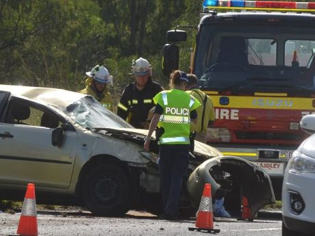 The scene of a single vehicle rollover east of Toowoomba on the Warrego Hwy.