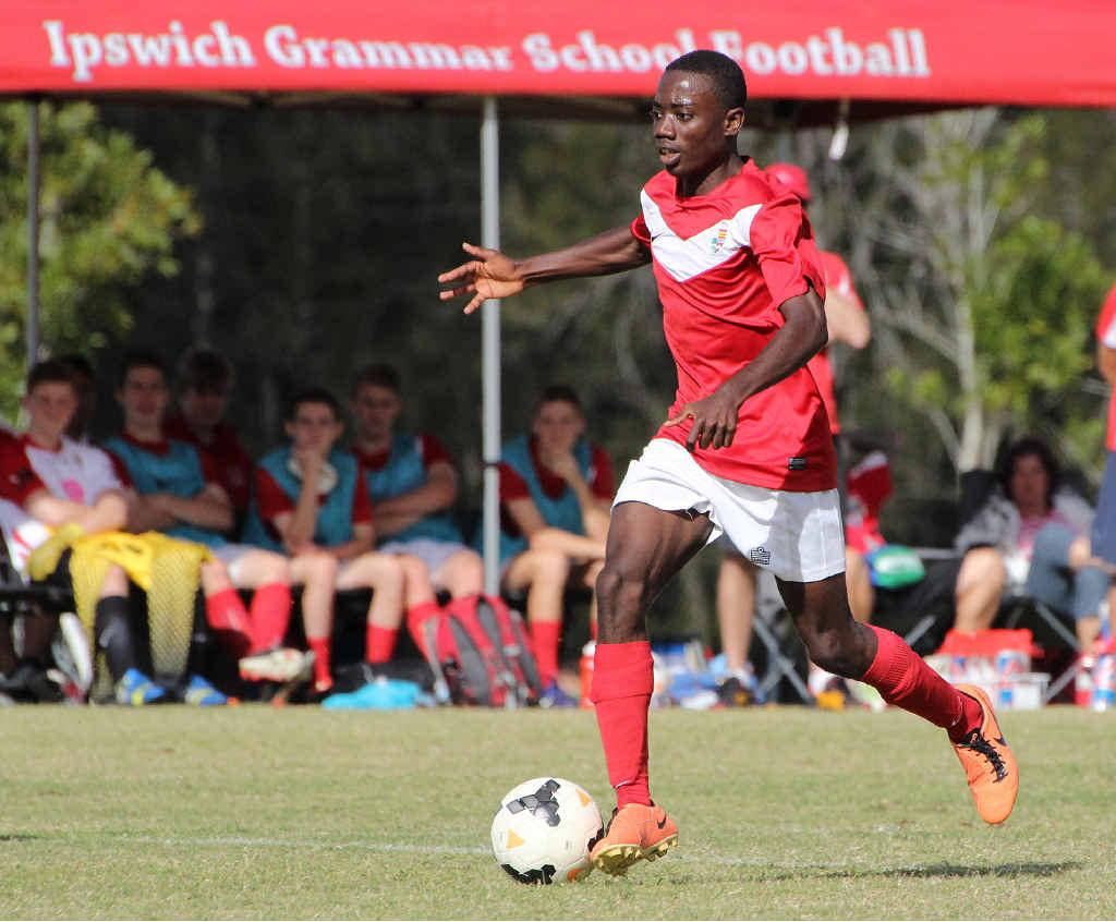 ON TARGET: Ipswich Grammar player Wilfred Kouakou scored two goals in his team's vital win over Gregory Terrace.