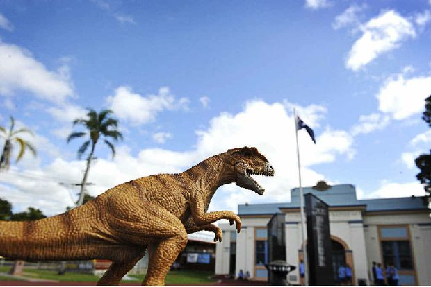 BELIEVE IT OR NOT: Northern Star photographer Marc Stapelberg's picture of a dinosaur outside Lismore Memorial Baths.