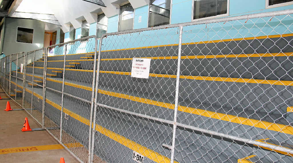 The grandstand at WIRAC has been fenced off while a crack in the structure underneath is fixed.