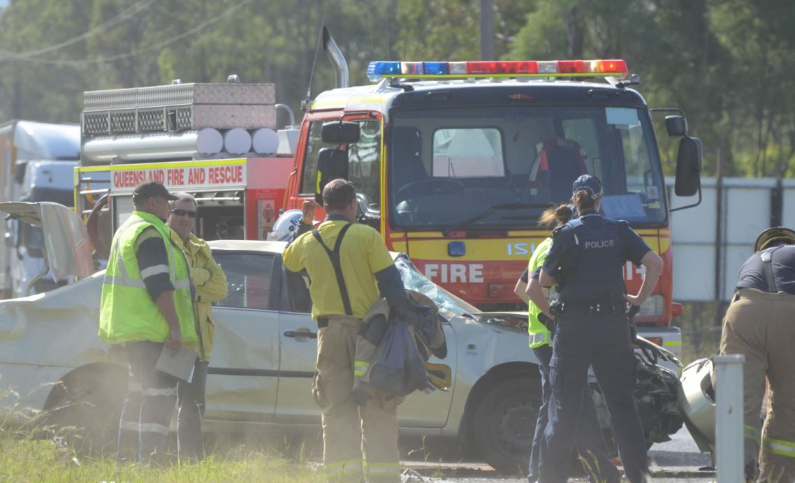 A man is lucky to escape this crash on the Warrego Hwy at Hatton Vale.