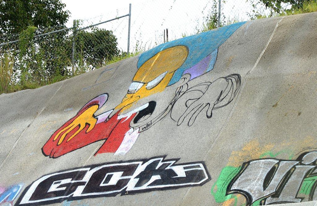 A Mr Burns graffiti tag off the motorway.