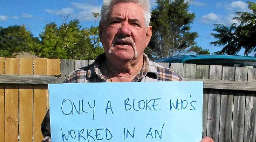 NO TO 70: Bobby Turner from Port Kembla stands up for a better retirement age.