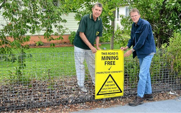 MINING FREE: Paul Kennedy and Col Thompson want to keep open cut coal mining out of the Bremer Valley.