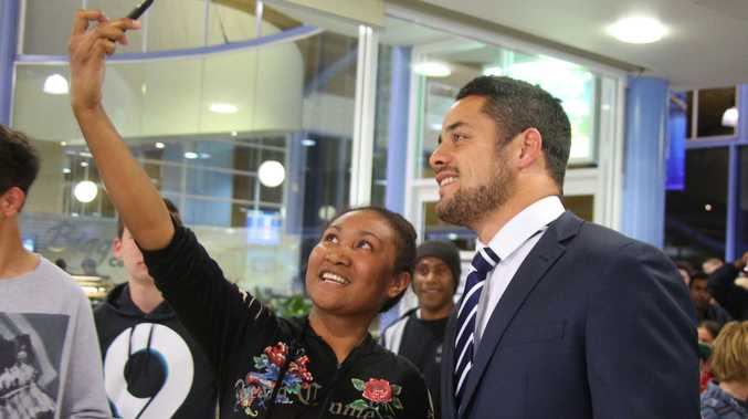 Jarryd Hayne meets with fans at the Coffs Harbour Airport.