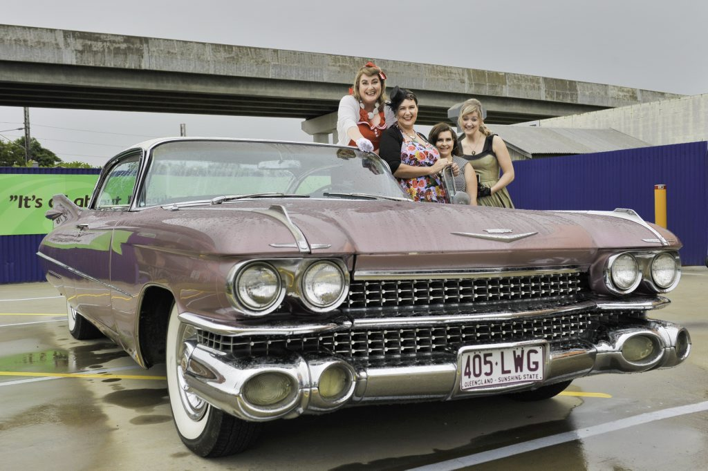 Julie-ann Devilee, Kerryanne Tawhai, Lois Auld and Karly Schenke arrived in style to the Gladstone Engineering Alliance Vintage Vogue High Tea in a 1959 Cadillac.