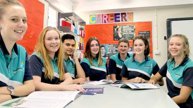 Tannum Sands High School students Jess Moody, Georgia Mackay, Lewis Wairoa, Jess Spencer, Galvin Mitch Hurst, Grace Shuttleworth and Courtney Murray celebrate the success of last year's OP results.