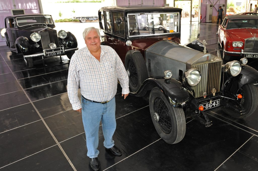 Clive Palmer with some of his Rolls Royces, including the 1950 Silver Wraith (rear left).