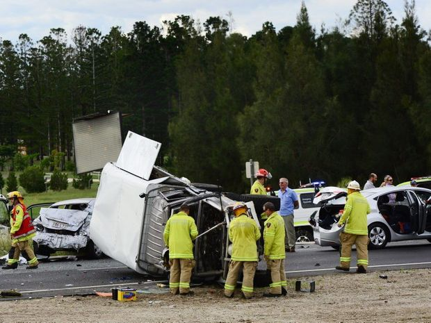A accident involving several vehicles on the Warrego Highway at Hatton Vale. Photo: David Nielsen / The Queensland Times