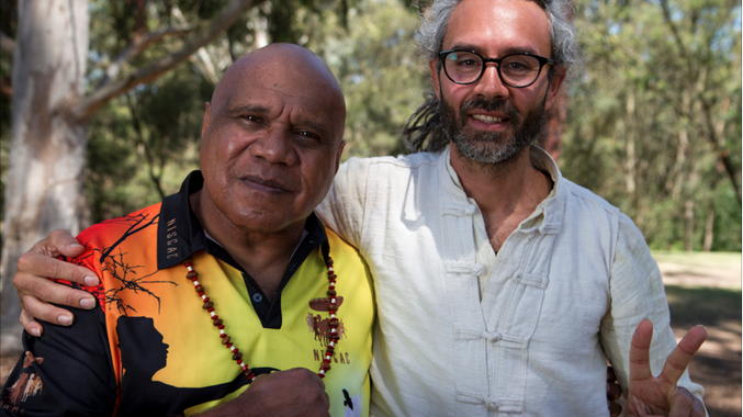 INSPIRATION: Jandamarra Cadd with singer-songwriter Archie Roach who inspired his latest Archibald prize entry.