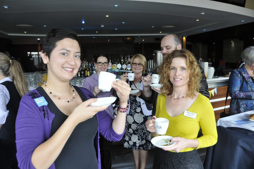 Rosie's Biggest Morning Tea fundraiser (from left) Rose Kent, Kristina Blue, Cynthia Hardy, Wess Pollard and Tracey Kessels at Fitzy's.