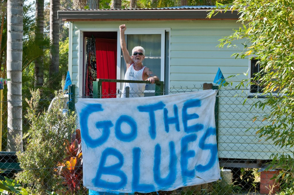Blues State of Origin Training, Elite Training Centre, Pacific Bay Resort, Coffs Harbour: Jim West supports the blues from nearby. Photo: Rob Wright / The Coffs Coast Advocate