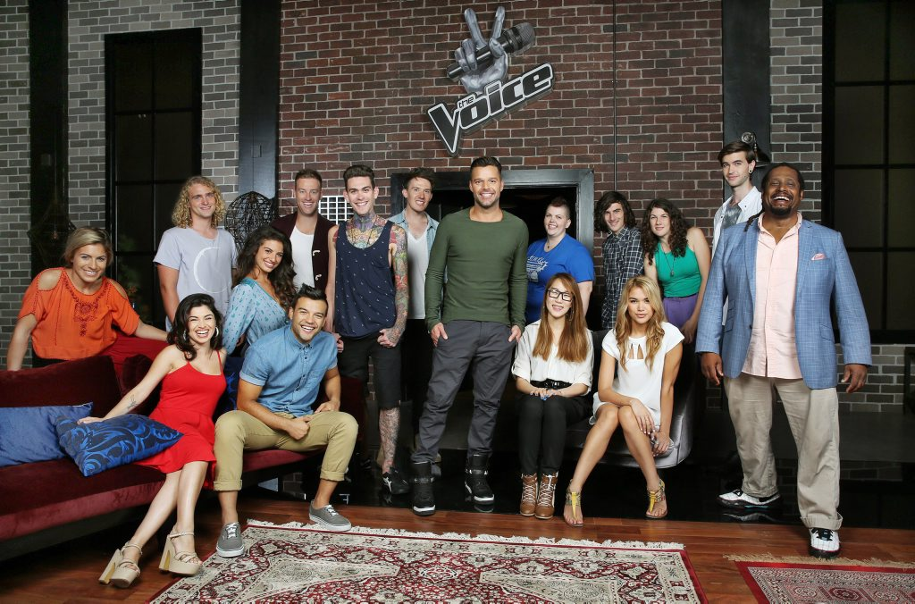 The Voice Australia coach Ricky Martin, centre, with his team from the blind auditions. Supplied by Channel 9/WIN. Please credit photo to Nigel Wright.