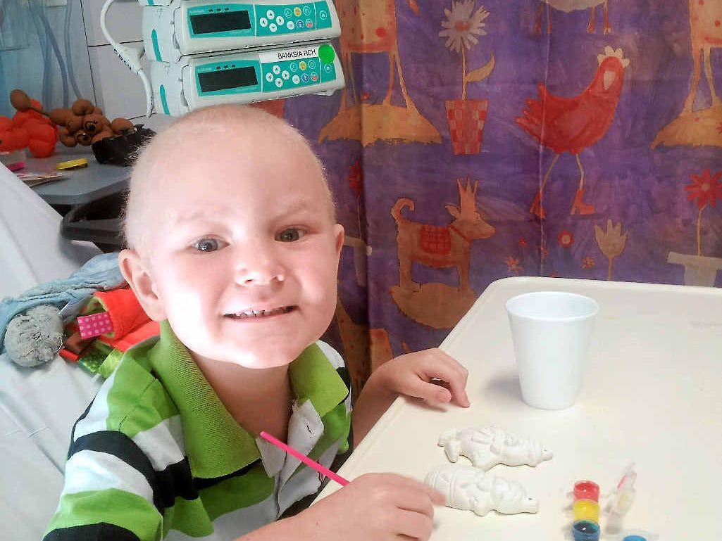 BRAVE: Four-year-old Bundaberg boy Sam Ross is fighting a rare case of leukaemia in Brisbane.